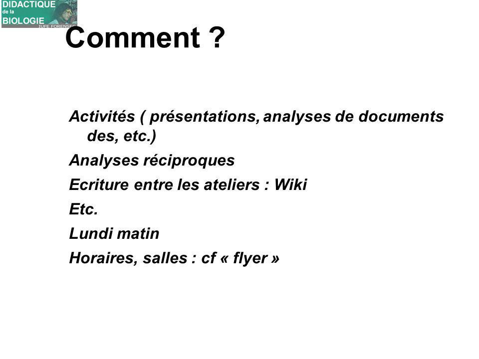 Comment ? Activités ( présentations, analyses de documents des, etc.) Analyses réciproques Ecriture entre les ateliers : Wiki Etc. Lundi matin Horaire