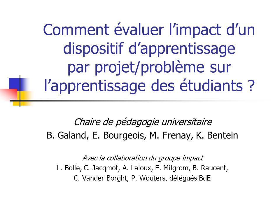 Comment évaluer limpact dun dispositif dapprentissage par projet/problème sur lapprentissage des étudiants .