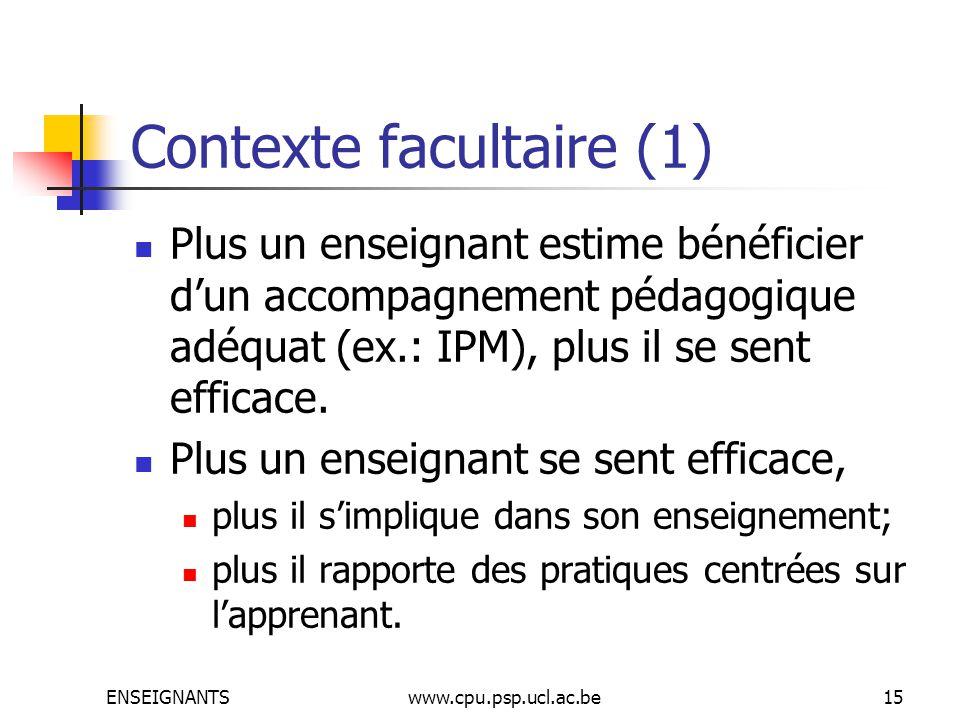ENSEIGNANTSwww.cpu.psp.ucl.ac.be15 Contexte facultaire (1) Plus un enseignant estime bénéficier dun accompagnement pédagogique adéquat (ex.: IPM), plus il se sent efficace.