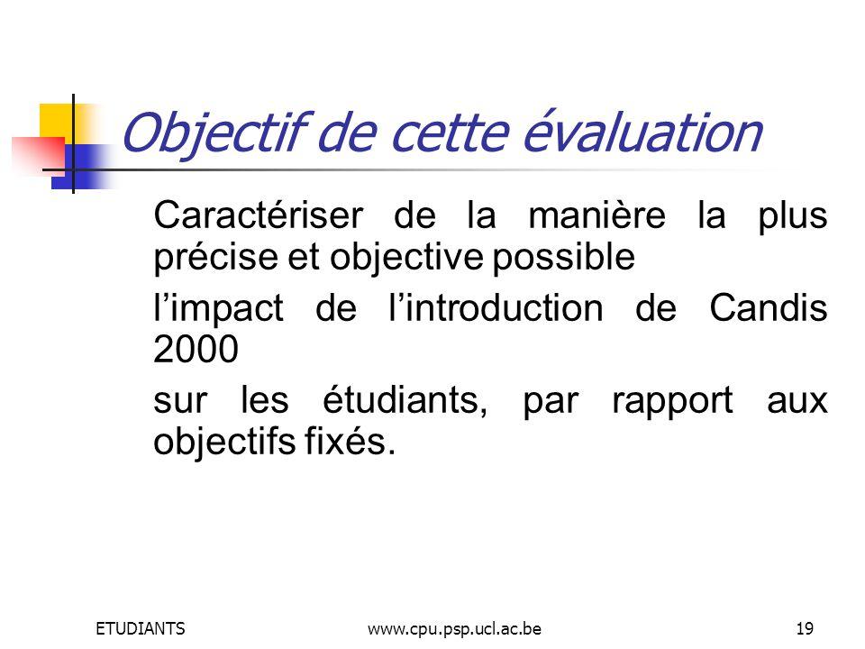 ETUDIANTSwww.cpu.psp.ucl.ac.be19 Objectif de cette évaluation Caractériser de la manière la plus précise et objective possible limpact de lintroduction de Candis 2000 sur les étudiants, par rapport aux objectifs fixés.