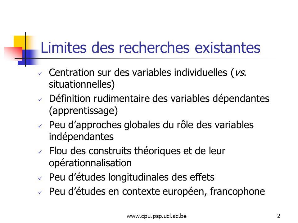 www.cpu.psp.ucl.ac.be2 Limites des recherches existantes Centration sur des variables individuelles (vs.