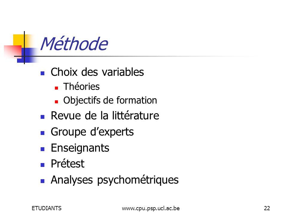 ETUDIANTSwww.cpu.psp.ucl.ac.be22 Méthode Choix des variables Théories Objectifs de formation Revue de la littérature Groupe dexperts Enseignants Prétest Analyses psychométriques
