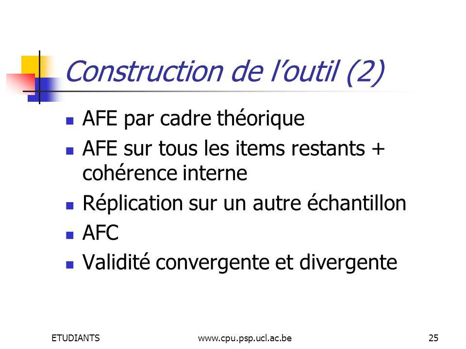 ETUDIANTSwww.cpu.psp.ucl.ac.be25 Construction de loutil (2) AFE par cadre théorique AFE sur tous les items restants + cohérence interne Réplication sur un autre échantillon AFC Validité convergente et divergente