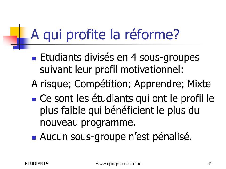 ETUDIANTSwww.cpu.psp.ucl.ac.be42 A qui profite la réforme.