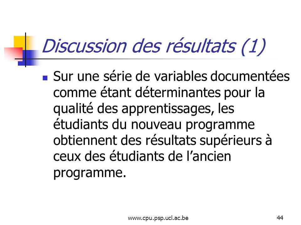 www.cpu.psp.ucl.ac.be44 Discussion des résultats (1) Sur une série de variables documentées comme étant déterminantes pour la qualité des apprentissages, les étudiants du nouveau programme obtiennent des résultats supérieurs à ceux des étudiants de lancien programme.