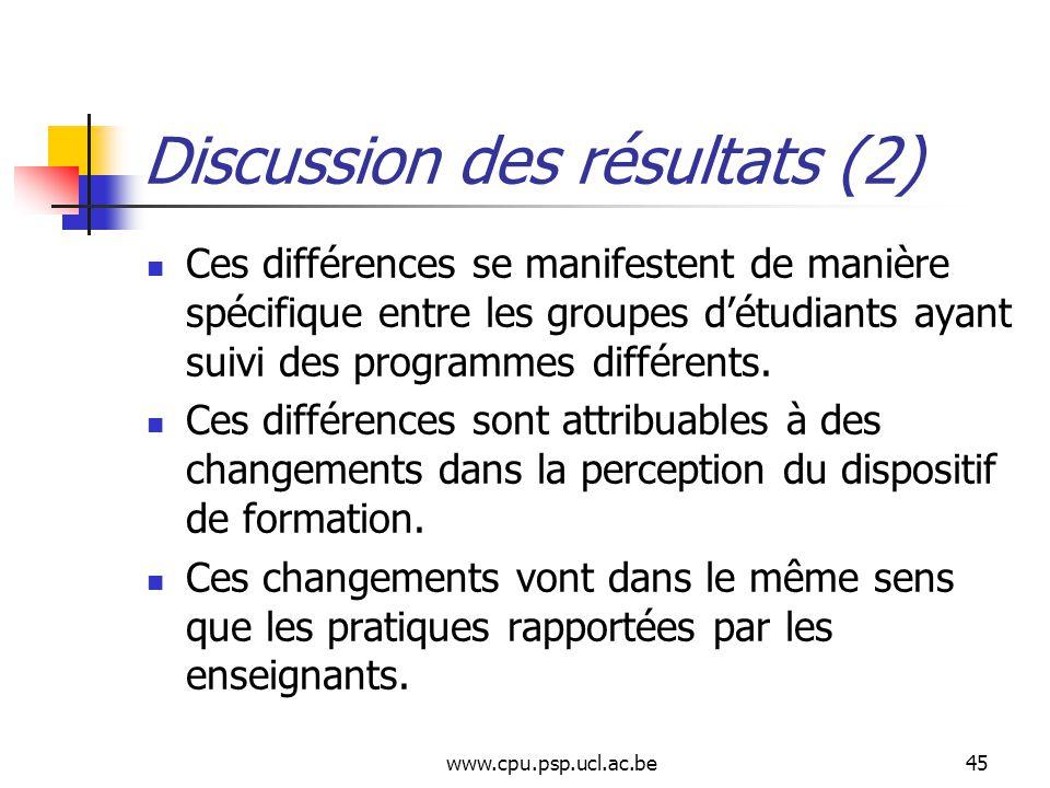 www.cpu.psp.ucl.ac.be45 Discussion des résultats (2) Ces différences se manifestent de manière spécifique entre les groupes détudiants ayant suivi des programmes différents.