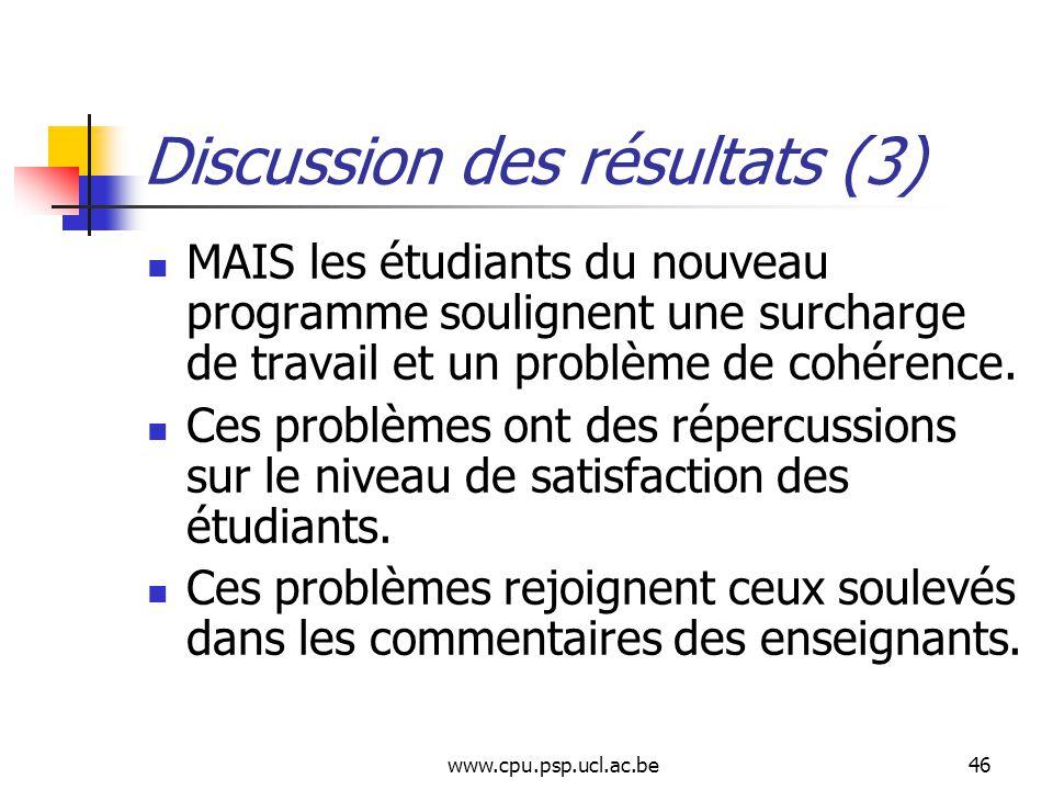 www.cpu.psp.ucl.ac.be46 Discussion des résultats (3) MAIS les étudiants du nouveau programme soulignent une surcharge de travail et un problème de cohérence.