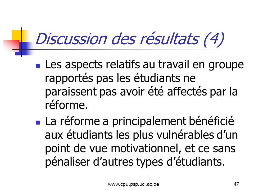 www.cpu.psp.ucl.ac.be47 Discussion des résultats (4) Les aspects relatifs au travail en groupe rapportés pas les étudiants ne paraissent pas avoir été affectés par la réforme.