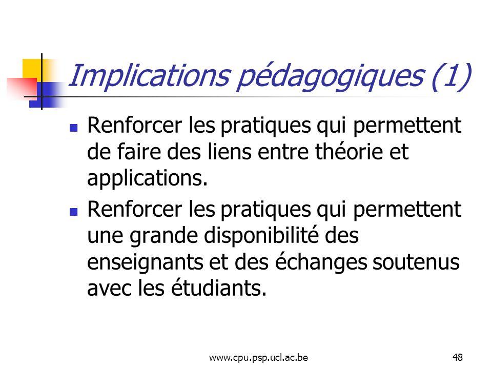 www.cpu.psp.ucl.ac.be48 Implications pédagogiques (1) Renforcer les pratiques qui permettent de faire des liens entre théorie et applications.