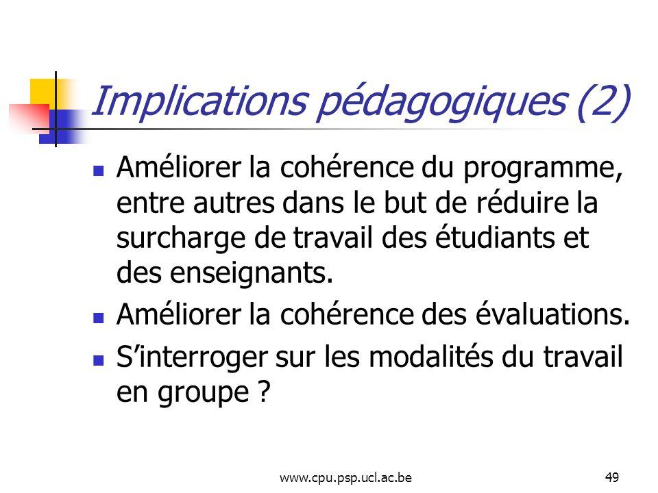 www.cpu.psp.ucl.ac.be49 Implications pédagogiques (2) Améliorer la cohérence du programme, entre autres dans le but de réduire la surcharge de travail des étudiants et des enseignants.