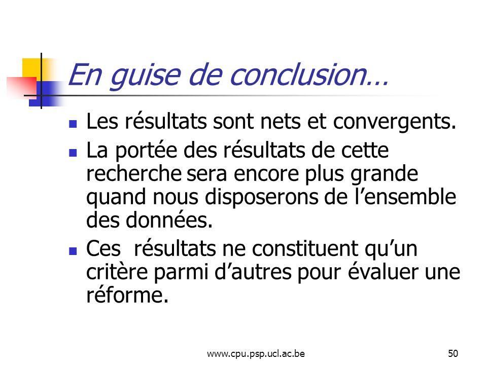 www.cpu.psp.ucl.ac.be50 En guise de conclusion… Les résultats sont nets et convergents.