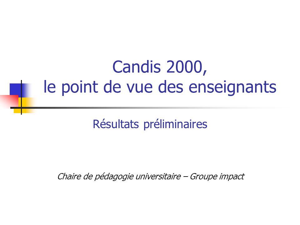 Candis 2000, le point de vue des enseignants Résultats préliminaires Chaire de pédagogie universitaire – Groupe impact