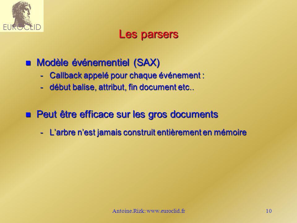Antoine.Rizk: www.euroclid.fr10 Les parsers n Modèle événementiel (SAX) -Callback appelé pour chaque événement : -début balise, attribut, fin document