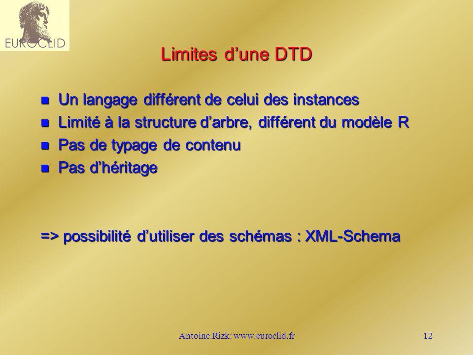 Antoine.Rizk: www.euroclid.fr12 Limites dune DTD n Un langage différent de celui des instances n Limité à la structure darbre, différent du modèle R n