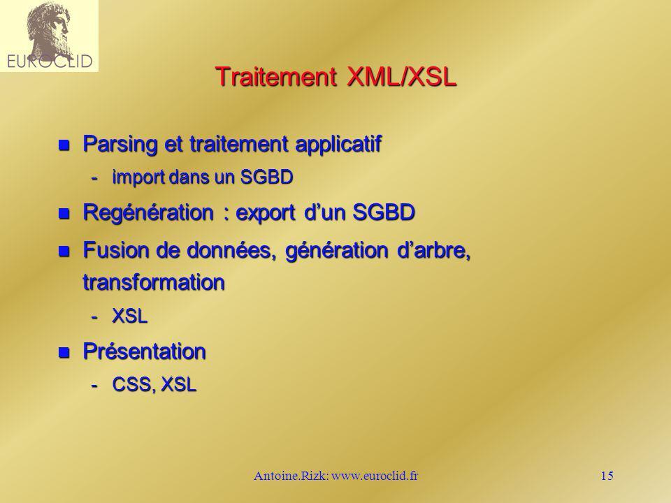 Antoine.Rizk: www.euroclid.fr15 Traitement XML/XSL n Parsing et traitement applicatif -import dans un SGBD n Regénération : export dun SGBD n Fusion d