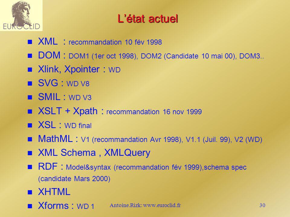 Antoine.Rizk: www.euroclid.fr30 Létat actuel n n XML : recommandation 10 fév 1998 n n DOM : DOM1 (1er oct 1998), DOM2 (Candidate 10 mai 00), DOM3.. n