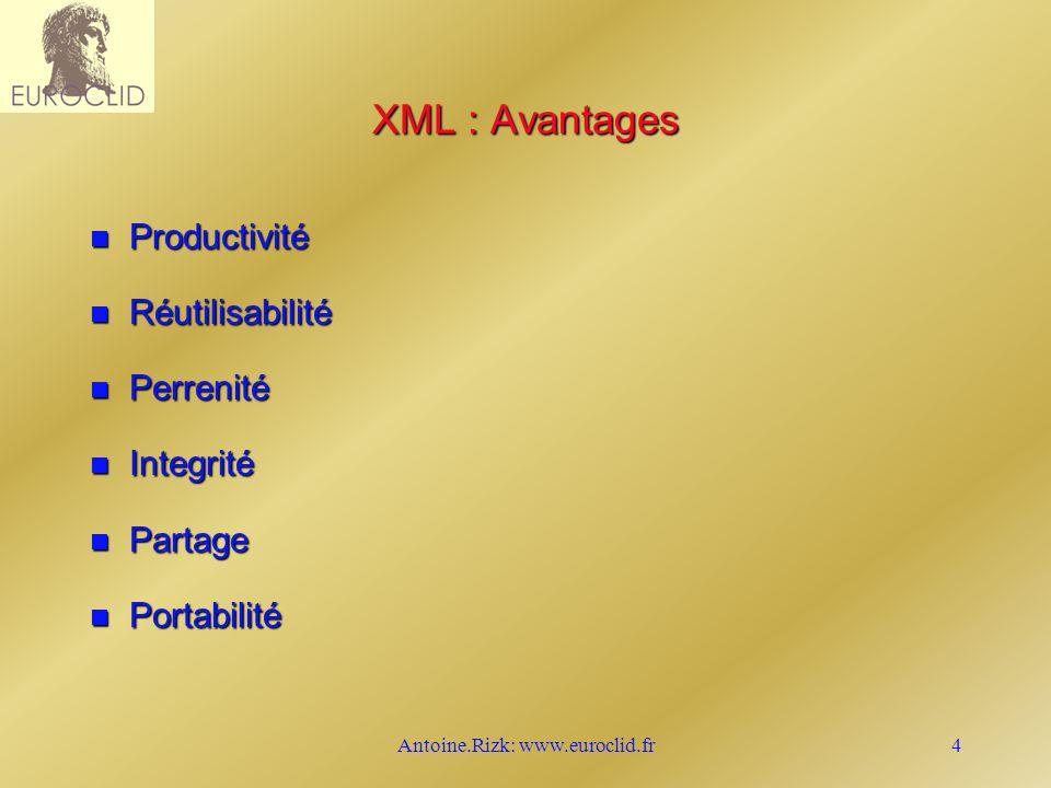 Antoine.Rizk: www.euroclid.fr4 XML : Avantages n Productivité n Réutilisabilité n Perrenité n Integrité n Partage n Portabilité