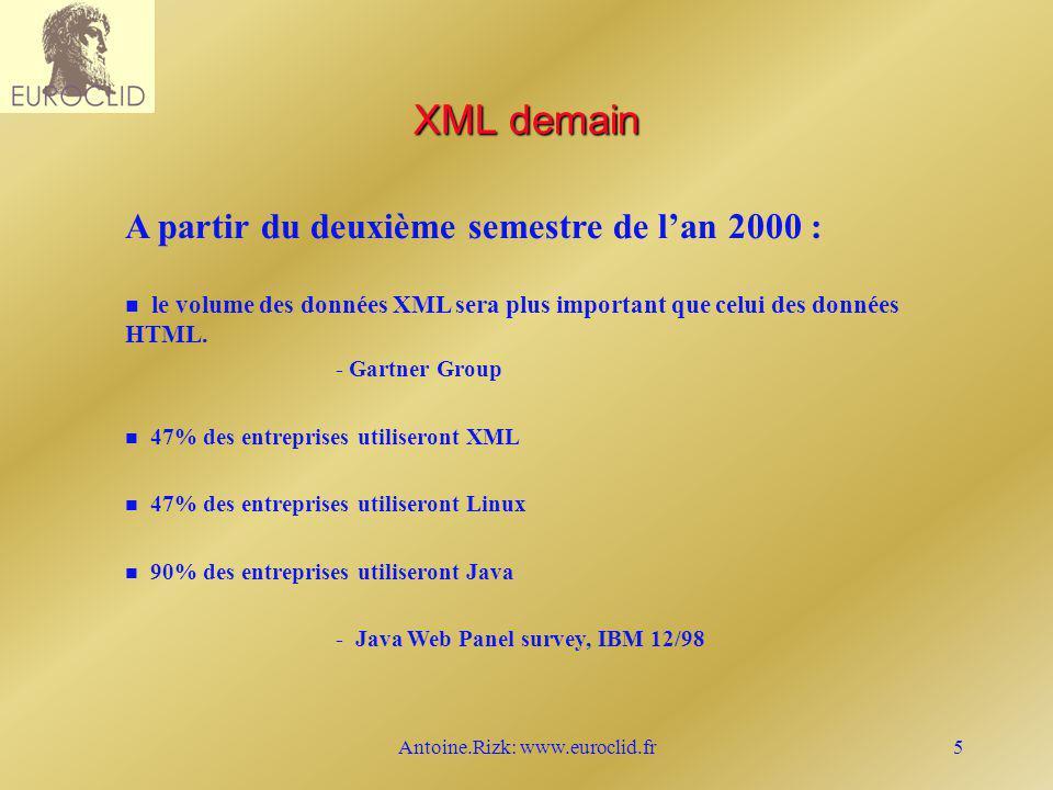 Antoine.Rizk: www.euroclid.fr16 XSL XSL Transformer Sortie (x) FO Interpreter (x) FO Interpreter (y) Sortie (y) FO Interpreter (z) Sortie (z) Feuille de style XSL Source XML W3C XSL Résultat FO décembre, 1997 décembre, 1997 décembre, 1997...