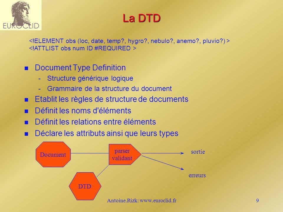 Antoine.Rizk: www.euroclid.fr9 La DTD n n Document Type Definition - -Structure générique logique - -Grammaire de la structure du document n n Etablit