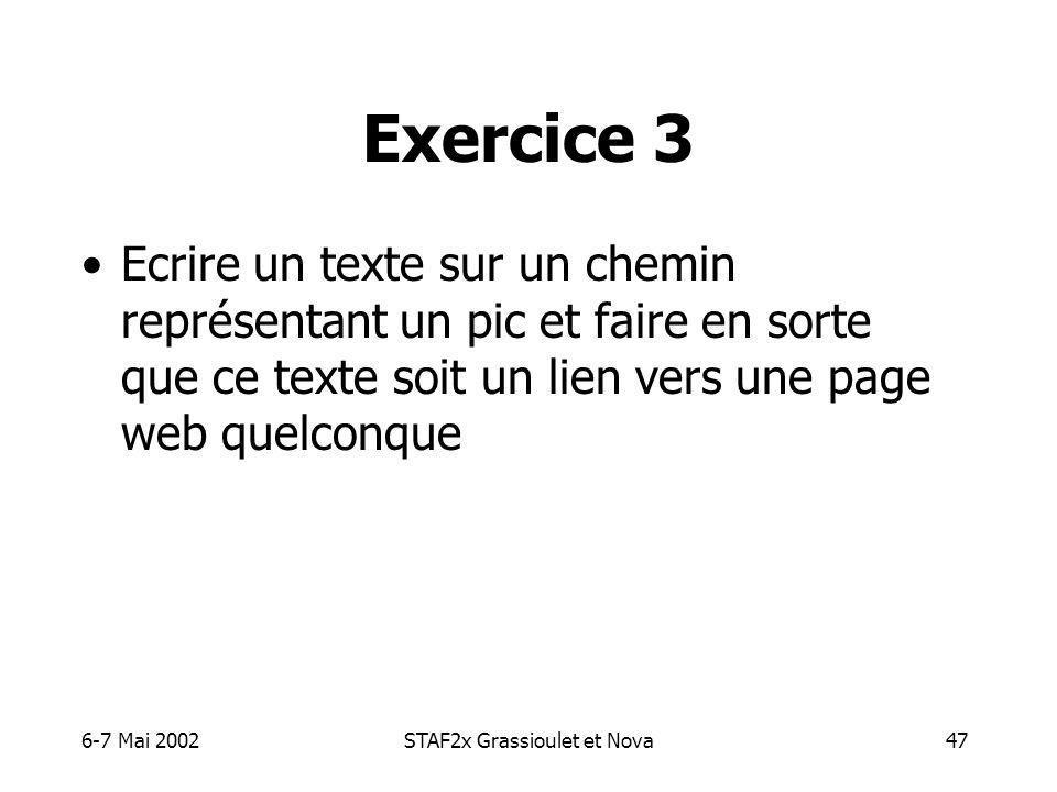 6-7 Mai 2002STAF2x Grassioulet et Nova47 Exercice 3 Ecrire un texte sur un chemin représentant un pic et faire en sorte que ce texte soit un lien vers une page web quelconque