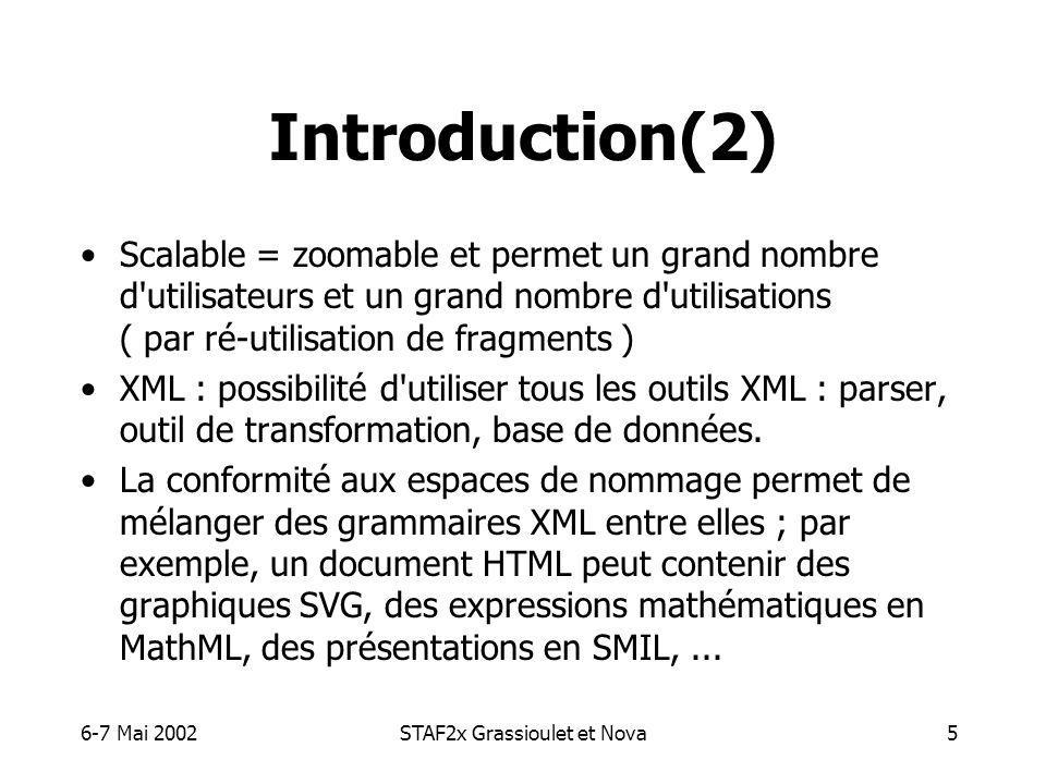 6-7 Mai 2002STAF2x Grassioulet et Nova5 Introduction(2) Scalable = zoomable et permet un grand nombre d utilisateurs et un grand nombre d utilisations ( par ré-utilisation de fragments ) XML : possibilité d utiliser tous les outils XML : parser, outil de transformation, base de données.