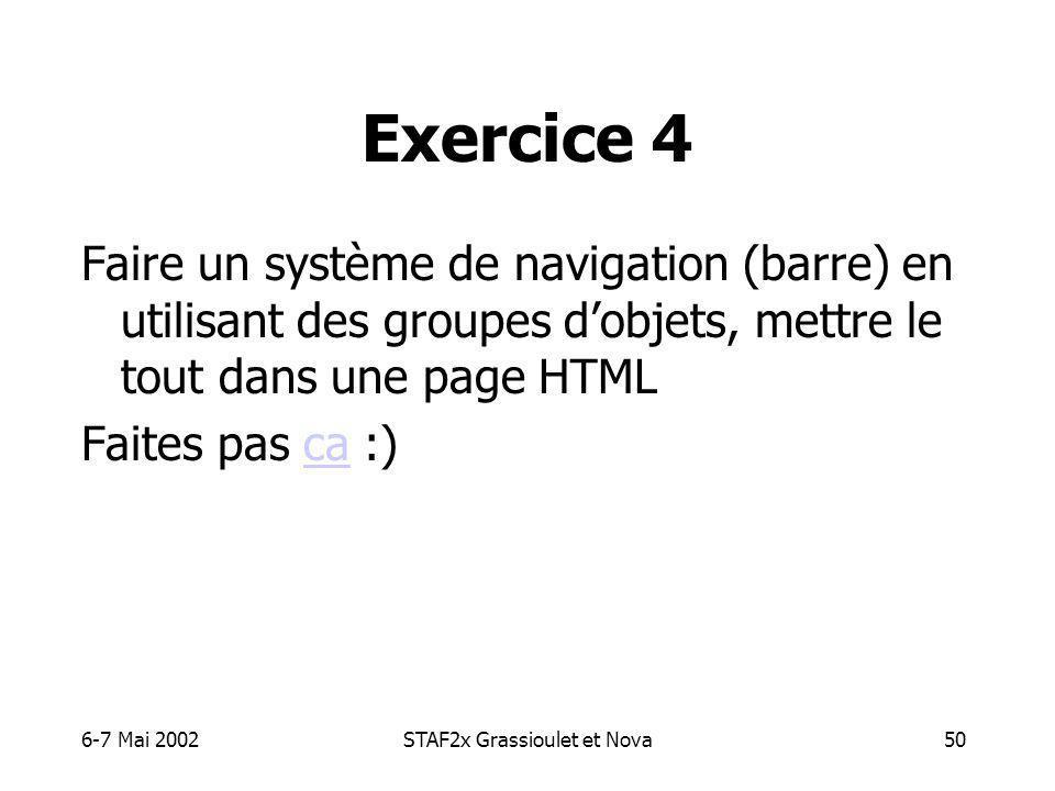 6-7 Mai 2002STAF2x Grassioulet et Nova50 Exercice 4 Faire un système de navigation (barre) en utilisant des groupes dobjets, mettre le tout dans une page HTML Faites pas ca :)ca
