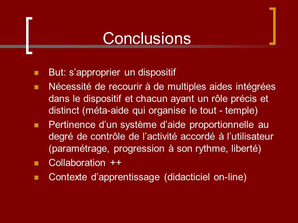 Conclusions But: sapproprier un dispositif Nécessité de recourir à de multiples aides intégrées dans le dispositif et chacun ayant un rôle précis et d
