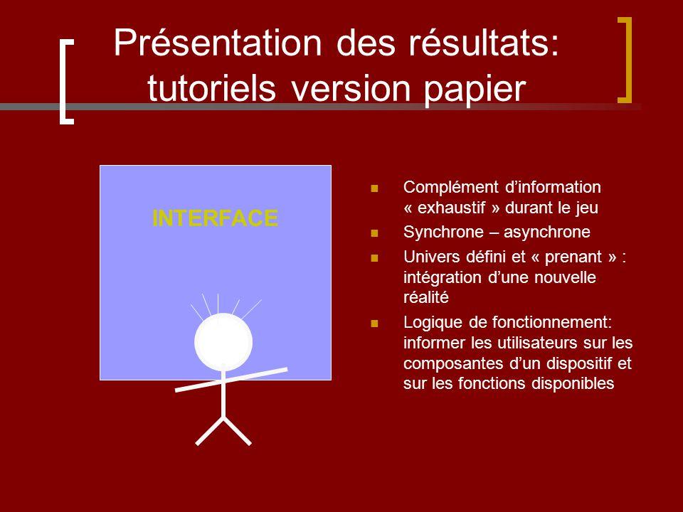 Présentation des résultats: tutoriels version papier Complément dinformation « exhaustif » durant le jeu Synchrone – asynchrone Univers défini et « pr