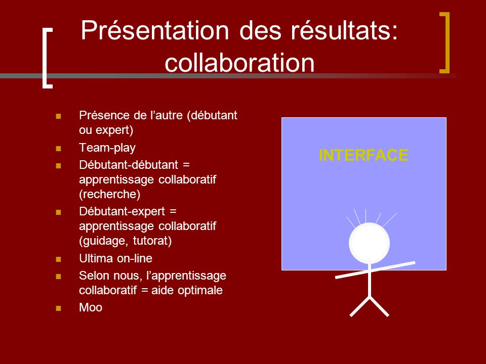 Présentation des résultats: collaboration Présence de lautre (débutant ou expert) Team-play Débutant-débutant = apprentissage collaboratif (recherche) Débutant-expert = apprentissage collaboratif (guidage, tutorat) Ultima on-line Selon nous, lapprentissage collaboratif = aide optimale Moo INTERFACE