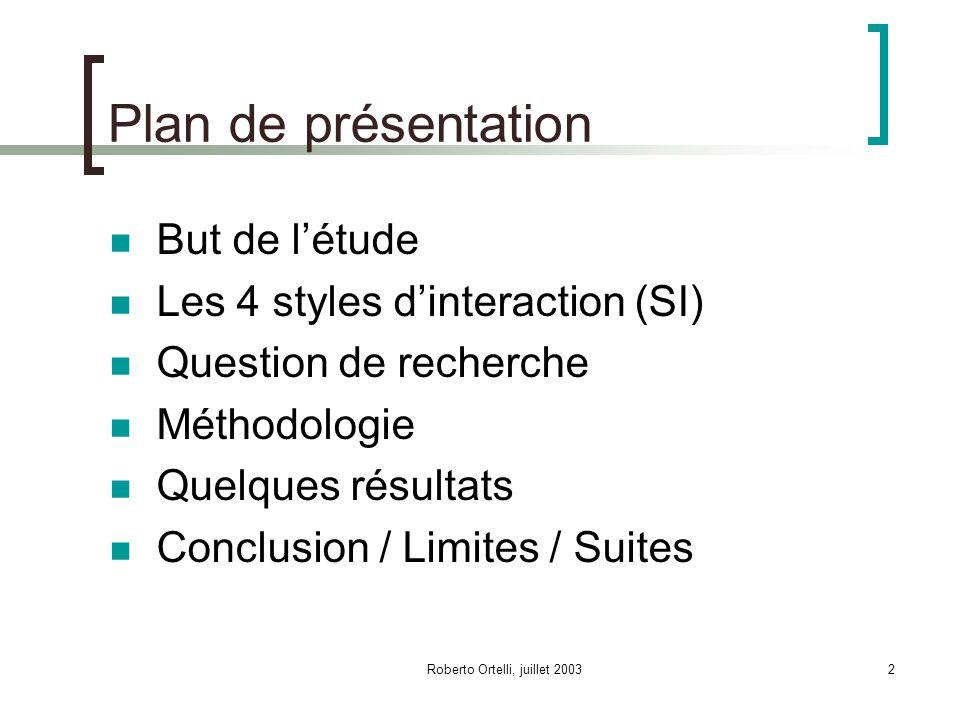 Roberto Ortelli, juillet 20032 Plan de présentation But de létude Les 4 styles dinteraction (SI) Question de recherche Méthodologie Quelques résultats Conclusion / Limites / Suites