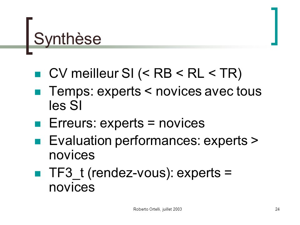 Roberto Ortelli, juillet 200324 Synthèse CV meilleur SI (< RB < RL < TR) Temps: experts < novices avec tous les SI Erreurs: experts = novices Evaluation performances: experts > novices TF3_t (rendez-vous): experts = novices