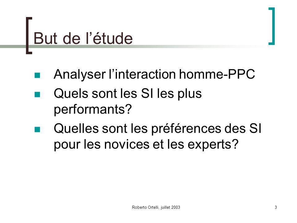 Roberto Ortelli, juillet 200324 Synthèse CV meilleur SI (< RB < RL < TR) Temps: experts < novices avec tous les SI Erreurs: experts = novices Evaluation performances: experts > novices TF3_t (rendez-vous): experts = novices