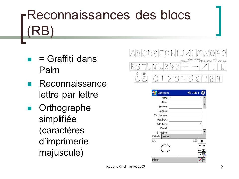 Roberto Ortelli, juillet 20035 Reconnaissances des blocs (RB) = Graffiti dans Palm Reconnaissance lettre par lettre Orthographe simplifiée (caractères dimprimerie majuscule)