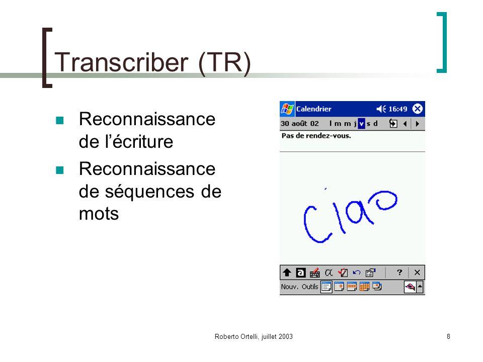 Roberto Ortelli, juillet 20038 Transcriber (TR) Reconnaissance de lécriture Reconnaissance de séquences de mots