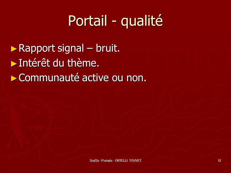 Staf2x - Portails - ORTELLI TOUVET12 Portail - qualité Rapport signal – bruit. Rapport signal – bruit. Intérêt du thème. Intérêt du thème. Communauté