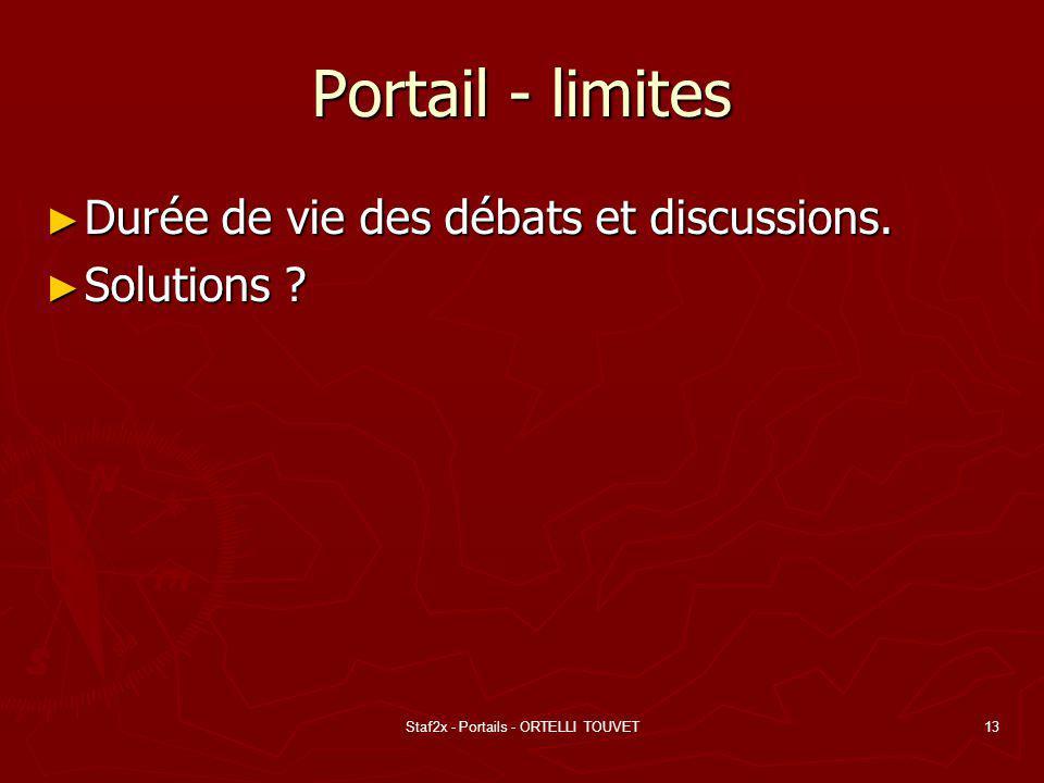 Staf2x - Portails - ORTELLI TOUVET13 Portail - limites Durée de vie des débats et discussions. Durée de vie des débats et discussions. Solutions ? Sol