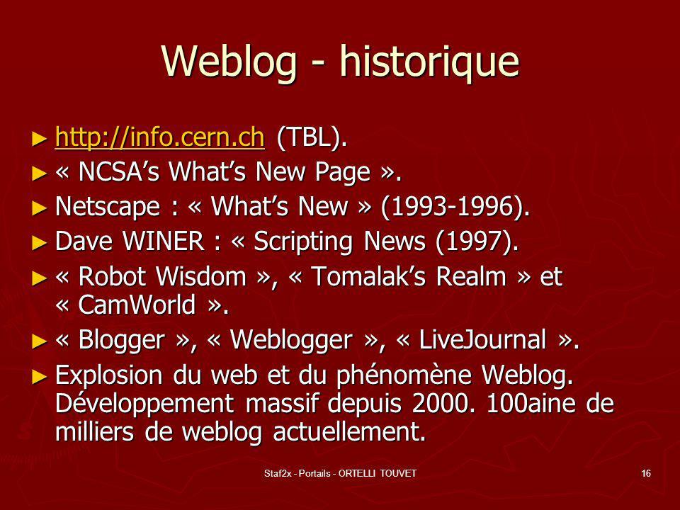 Staf2x - Portails - ORTELLI TOUVET16 Weblog - historique http://info.cern.ch (TBL).