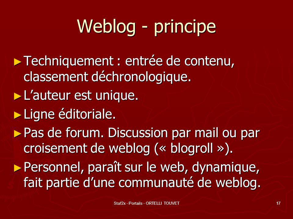 Staf2x - Portails - ORTELLI TOUVET17 Weblog - principe Techniquement : entrée de contenu, classement déchronologique. Techniquement : entrée de conten