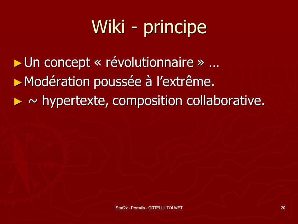 Staf2x - Portails - ORTELLI TOUVET20 Wiki - principe Un concept « révolutionnaire » … Un concept « révolutionnaire » … Modération poussée à lextrême.