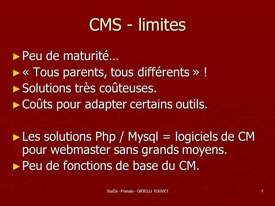 Staf2x - Portails - ORTELLI TOUVET7 CMS - limites Peu de maturité… Peu de maturité… « Tous parents, tous différents » .