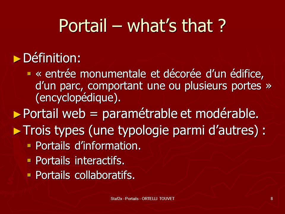 Staf2x - Portails - ORTELLI TOUVET9 Portail - principe Architecture de base + extensions non- standardes (plugin).