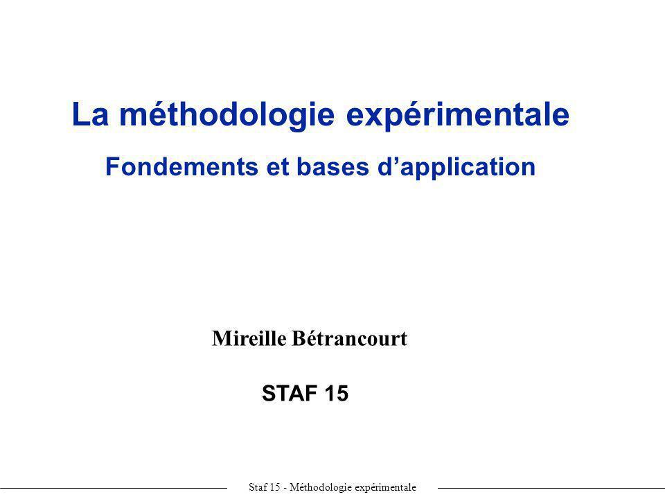 Staf 15 - Méthodologie expérimentale Mireille Bétrancourt STAF 15 La méthodologie expérimentale Fondements et bases dapplication