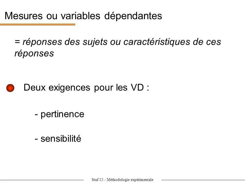 Staf 15 - Méthodologie expérimentale Mesures ou variables dépendantes = réponses des sujets ou caractéristiques de ces réponses - pertinence - sensibi