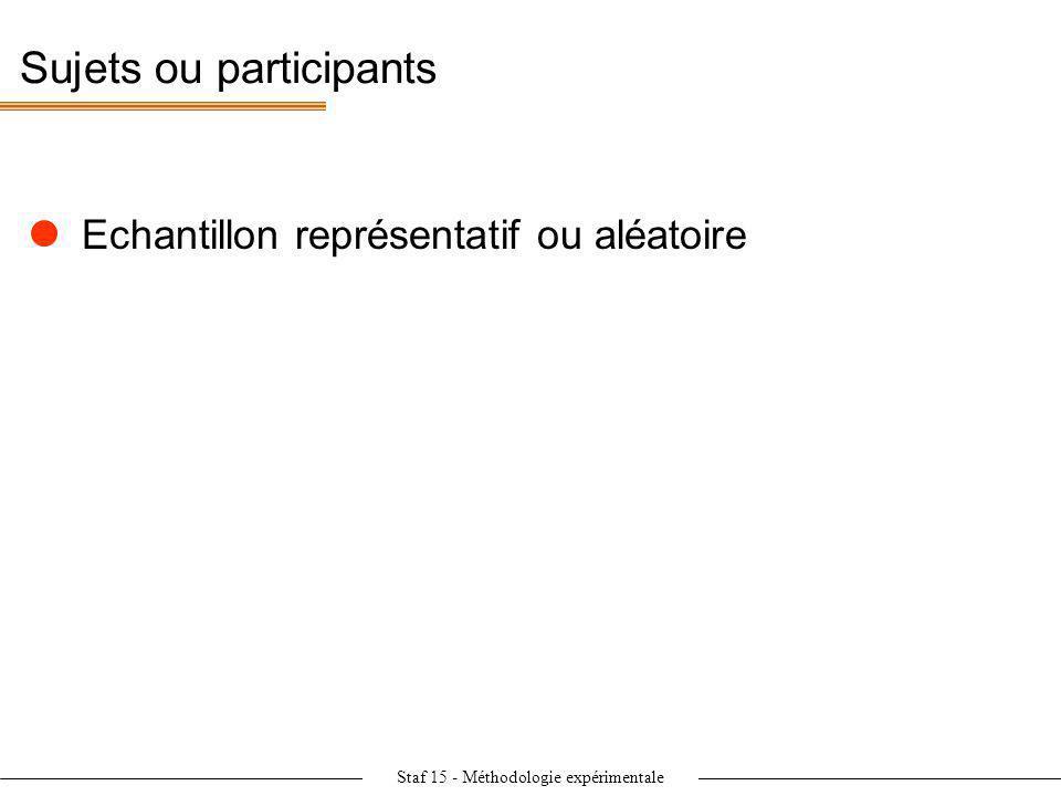 Staf 15 - Méthodologie expérimentale Sujets ou participants Echantillon représentatif ou aléatoire