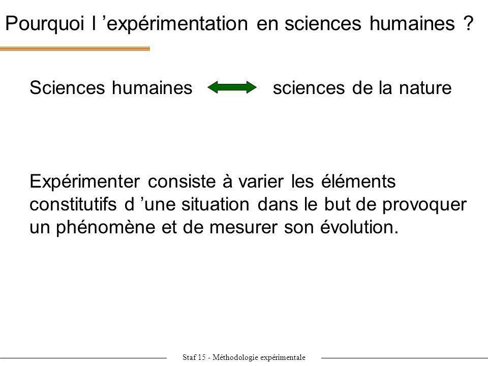 Staf 15 - Méthodologie expérimentale Pourquoi l expérimentation en sciences humaines ? Expérimenter consiste à varier les éléments constitutifs d une
