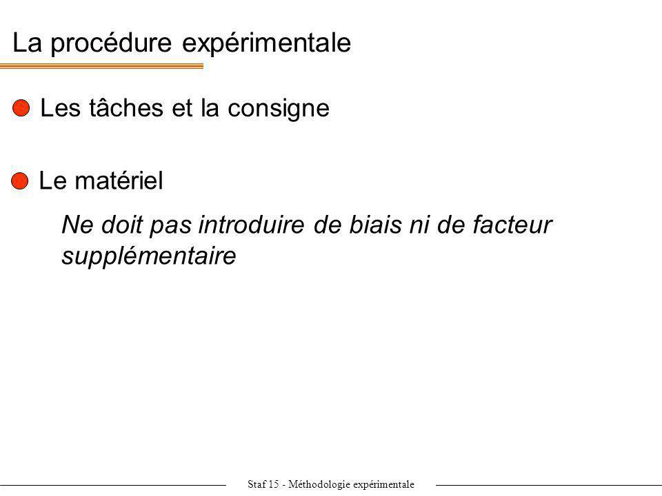 Staf 15 - Méthodologie expérimentale La procédure expérimentale Les tâches et la consigne Le matériel Ne doit pas introduire de biais ni de facteur su
