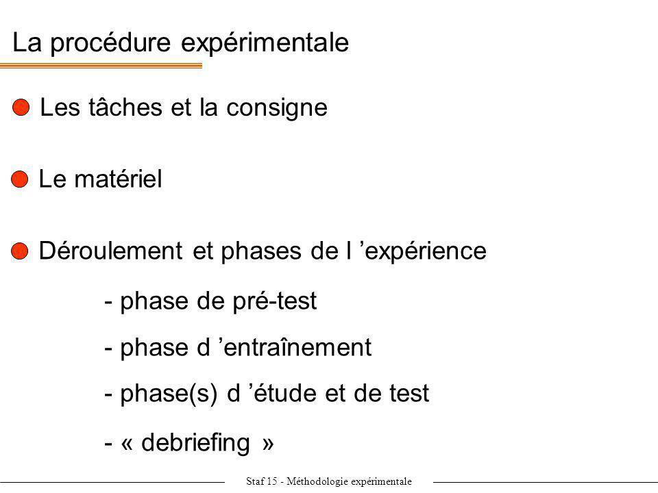Staf 15 - Méthodologie expérimentale La procédure expérimentale Les tâches et la consigne Le matériel Déroulement et phases de l expérience - phase de