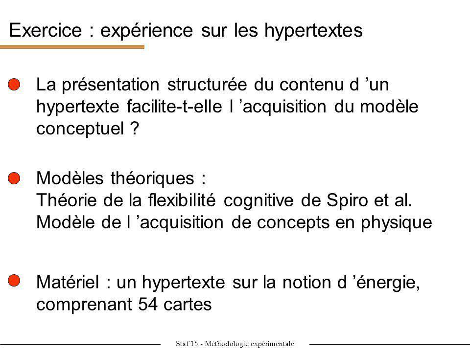 Staf 15 - Méthodologie expérimentale Exercice : expérience sur les hypertextes La présentation structurée du contenu d un hypertexte facilite-t-elle l