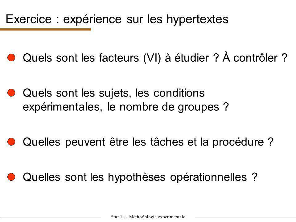 Staf 15 - Méthodologie expérimentale Exercice : expérience sur les hypertextes Quels sont les facteurs (VI) à étudier ? À contrôler ? Quels sont les s