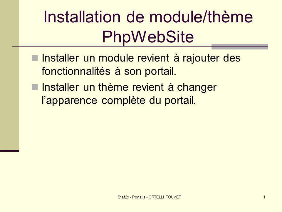Staf2x - Portails - ORTELLI TOUVET1 Installation de module/thème PhpWebSite Installer un module revient à rajouter des fonctionnalités à son portail.